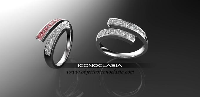 anillo medio sin fin cruzado de turmalina y diamantes